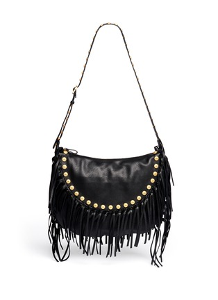 Main View - Click To Enlarge - Valentino - Gryphon stud fringe leather hobo bag