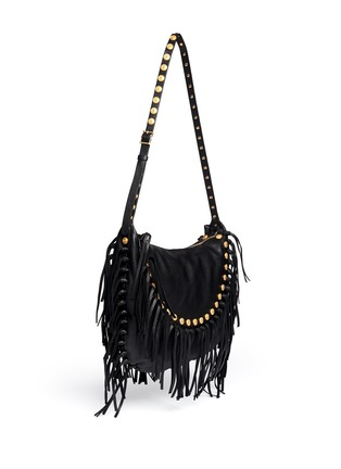Figure View - Click To Enlarge - Valentino - Gryphon stud fringe leather hobo bag