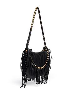 VALENTINOGryphon stud fringe leather hobo bag