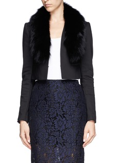 ALICE + OLIVIA 'Ridley' detachable fox fur collar cropped blazer