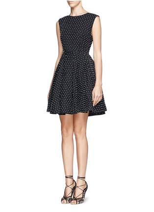Front View - Click To Enlarge - alice + olivia - 'Fila' faux pearl cotton pleat dress