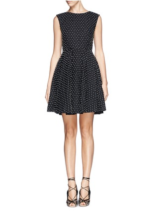 Main View - Click To Enlarge - alice + olivia - 'Fila' faux pearl cotton pleat dress