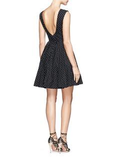 ALICE + OLIVIA'Fila' faux pearl cotton pleat dress