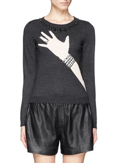 ALICE + OLIVIA 'Hand with Ring' strass and crystal sweater