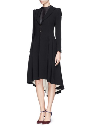 Front View - Click To Enlarge - alice + olivia - 'Bain' pleat asymmetric crepe coat