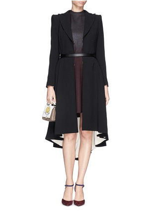 Figure View - Click To Enlarge - alice + olivia - 'Bain' pleat asymmetric crepe coat