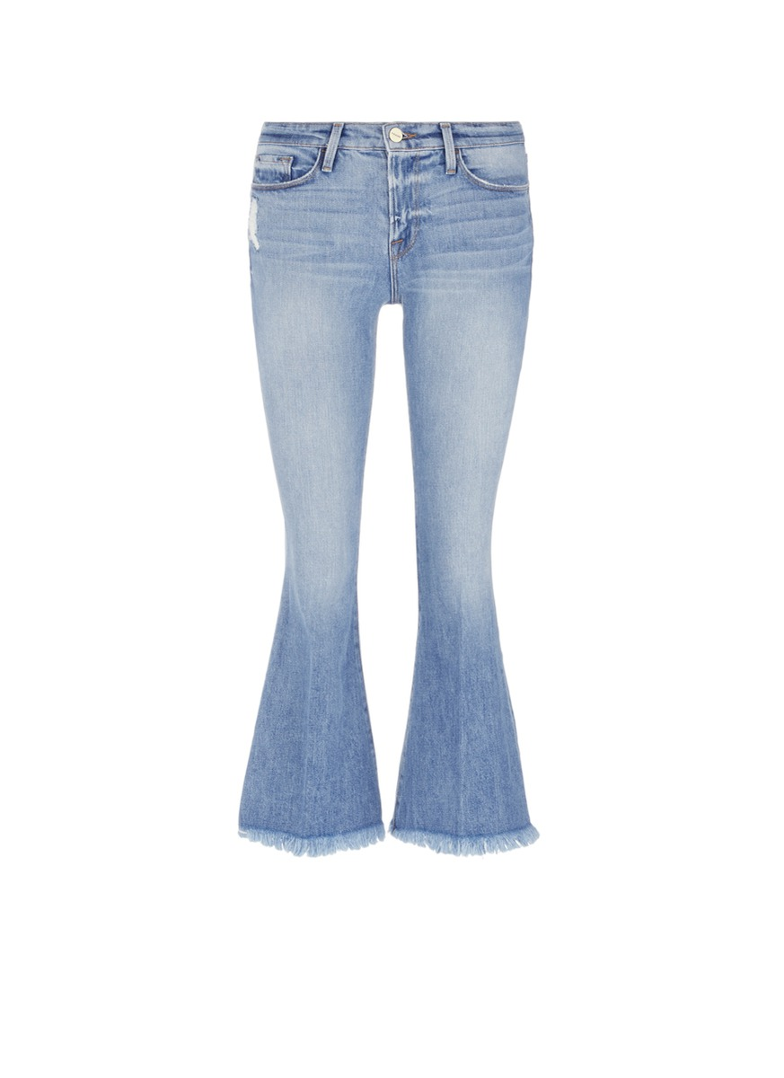 Le Crop Bell frayed cuff cropped boot cut jeans by Frame Denim