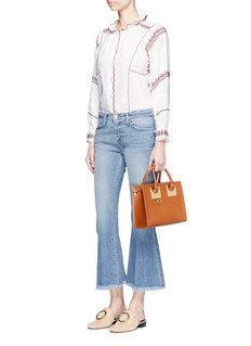 Frame Denim'Le Crop Bell' frayed cuff cropped boot cut jeans
