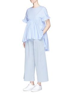 Xiao LiRuffle trim dip hem cotton shirt