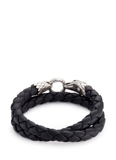 John Hardy Onyx silver eagle braided leather wraparound bracelet