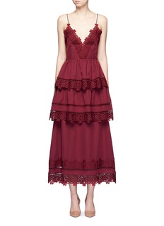self-portrait'Ivy' mixed daisy lace tiered V-neck dress