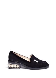 Nicholas Kirkwood'Casati' faux pearl heel velvet loafers