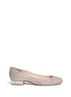Nicholas Kirkwood'Casati' faux pearl heel Lurex flats