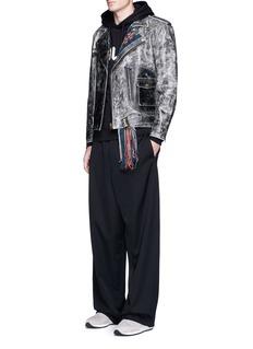 FACETASMFringed intarsia trim crackle leather jacket