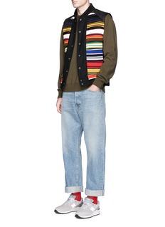 FACETASMLeather panel stripe rib knit vest