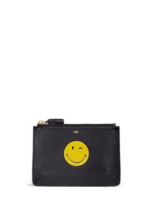Main View - Click To Enlarge - Anya Hindmarch - 'Wink Loose Pocket' small leather zip pouch