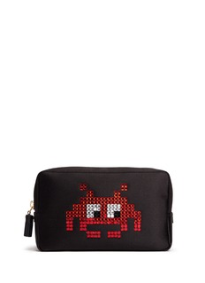 Anya Hindmarch 'Space Invaders' embellished character cosmetics pouch