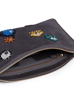Detail View - Click To Enlarge - Anya Hindmarch - 'Space Invaders Georgiana' crystal embellished suede clutch