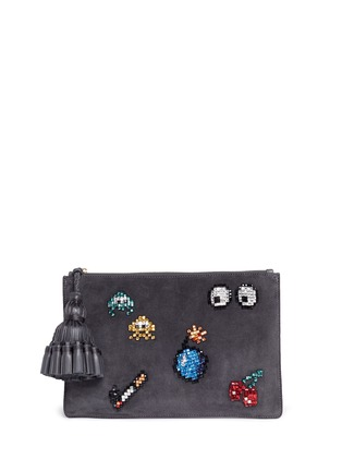 Main View - Click To Enlarge - Anya Hindmarch - 'Space Invaders Georgiana' crystal embellished suede clutch