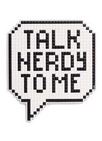 'Talk Nerdy' oversized embossed leather sitcker