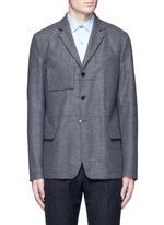 Reversible pinstripe patchwork wool flannel blazer