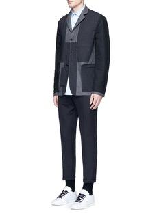 MarniReversible pinstripe patchwork wool flannel blazer