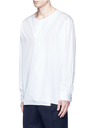 Front View - Click To Enlarge - Marni - Drape front cotton shirt