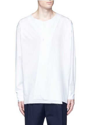 Main View - Click To Enlarge - Marni - Drape front cotton shirt