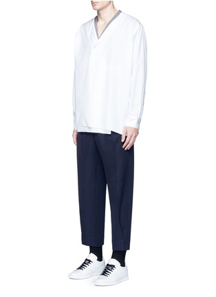 Figure View - Click To Enlarge - Marni - Drape front cotton shirt