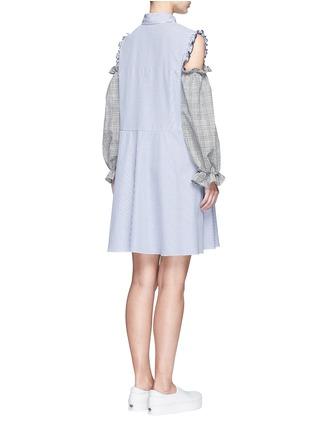 Back View - Click To Enlarge - Sandy Liang - 'Danny' glen check cold shoulder stripe A-line dress