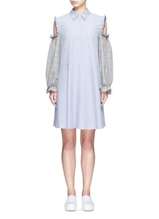 Main View - Click To Enlarge - Sandy Liang - 'Danny' glen check cold shoulder stripe A-line dress