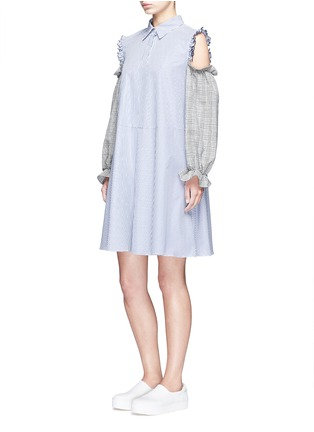 Figure View - Click To Enlarge - Sandy Liang - 'Danny' glen check cold shoulder stripe A-line dress