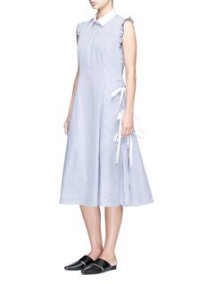 Sandy Liang'Ryan' ruffle side tie stripe A-line shirt dress