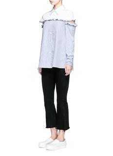 Sandy Liang'Stuyvesant' cutout ruffle yoke stripe cotton shirt