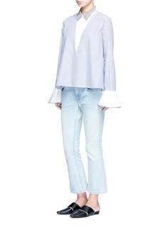 Sandy Liang'Walder' open back check collar stripe cotton blouse