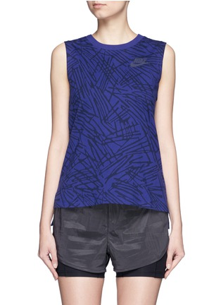 Main View - Click To Enlarge - Nike - Abstract print cotton muscle tank top