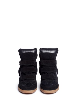 Front View - Click To Enlarge - Isabel Marant Étoile - 'Bekett' padded leather tongue suede sneakers