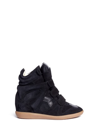 Main View - Click To Enlarge - Isabel Marant Étoile - 'Bekett' padded leather tongue suede sneakers