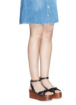'Zia' leather strap clog wedge sandals