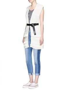 VINCEFringed cable knit vest cardigan