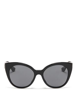 Main View - Click To Enlarge - miu miu - Rhinestone pavé temple acetate cat eye sunglasses