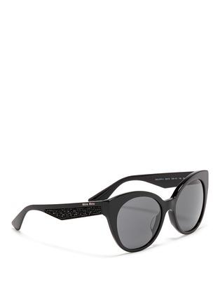 Figure View - Click To Enlarge - miu miu - Rhinestone pavé temple acetate cat eye sunglasses