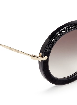 Detail View - Click To Enlarge - miu miu - 'Noir' crystal embellishment suede rim acetate round sunglasses