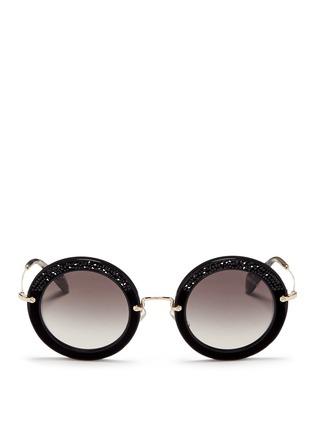 Main View - Click To Enlarge - miu miu - 'Noir' crystal embellishment suede rim acetate round sunglasses