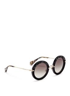 MIU MIU'Noir' crystal embellishment suede rim acetate round sunglasses