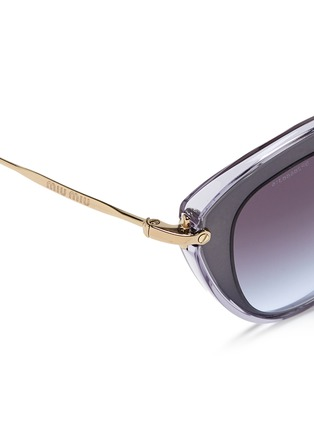 Detail View - Click To Enlarge - miu miu - 'Noir' capped acetate metal sunglasses