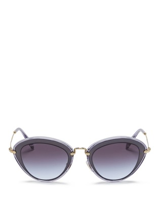 Main View - Click To Enlarge - miu miu - 'Noir' capped acetate metal sunglasses