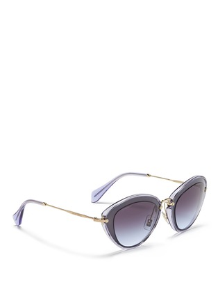 Figure View - Click To Enlarge - miu miu - 'Noir' capped acetate metal sunglasses