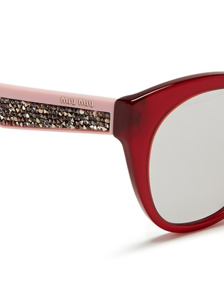 Detail View - Click To Enlarge - miu miu - Rhinestone pavé temple acetate cat eye sunglasses