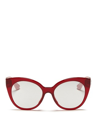 Main View - Click To Enlarge - miu miu - Rhinestone pavé temple acetate cat eye sunglasses